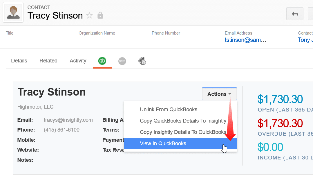 quickbooks insightly