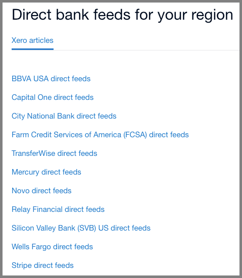 xero direct bank feeds