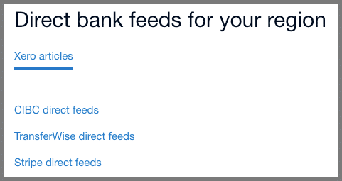 canada xero direct bank feeds