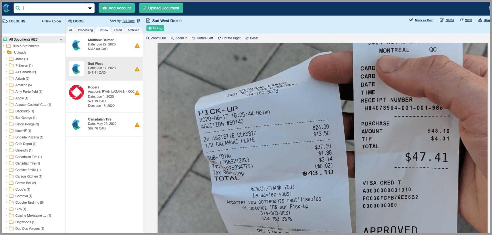 hubdoc receipt
