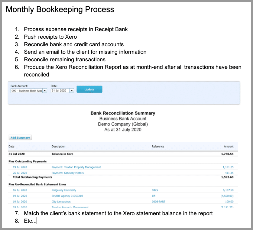 client accounting services bookkeeping process
