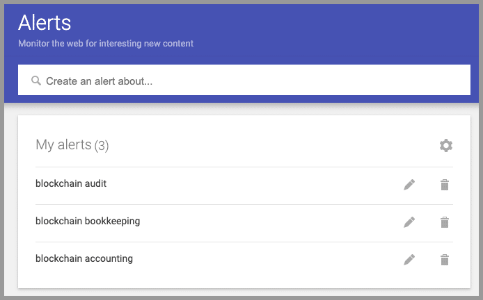 google alerts blockchain accounting technologies