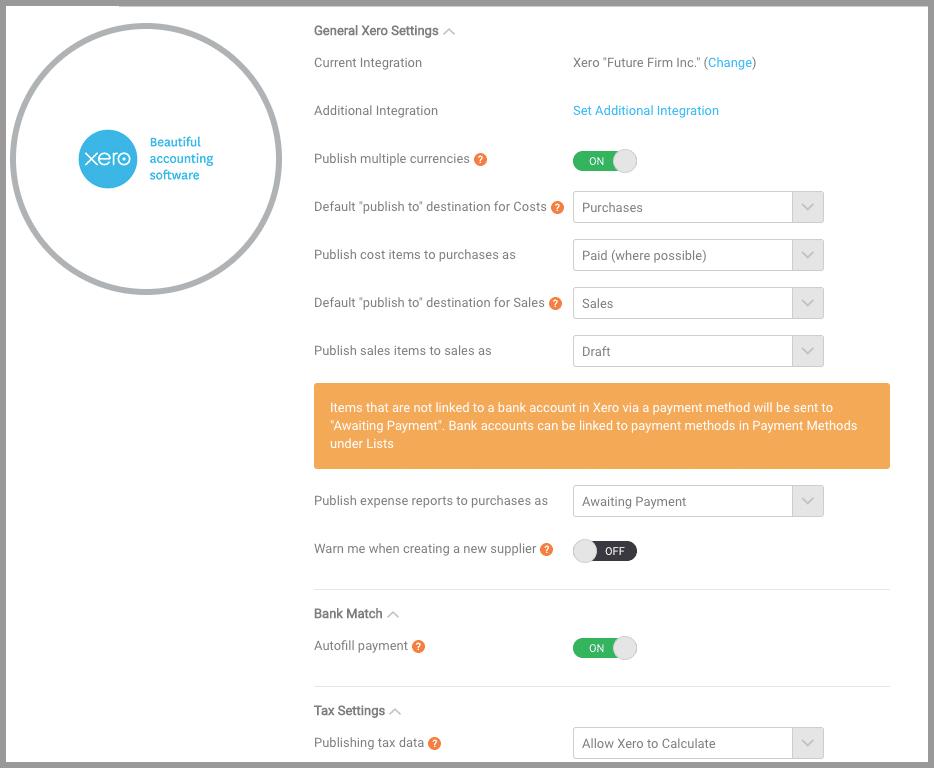 receipt bank xero integration settings