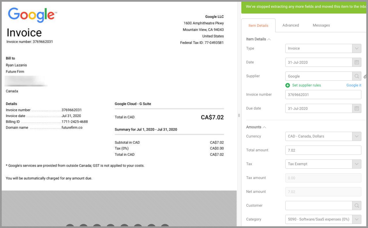 receipt bank invoice