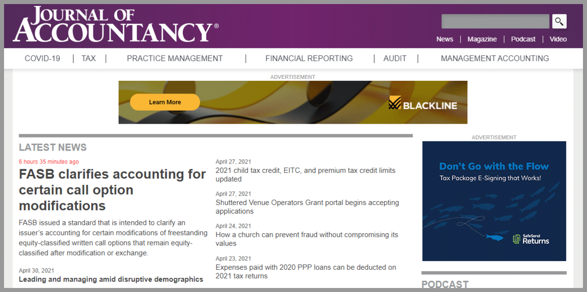 Journal of Accountancy Accounting bloggers